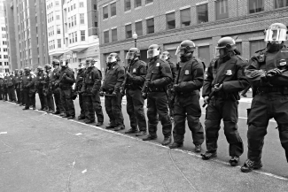 Riot police at protests on Trump inauguration in Washington DC