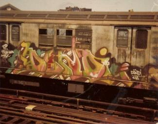 Train car covered with Dondi graffiti art