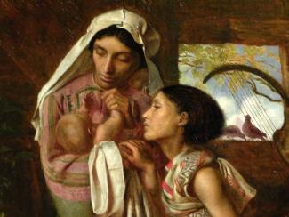 Fanny Eaton prepares to entrust her newborn baby, Moses, to the Nile