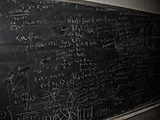 Math equations on chalk board