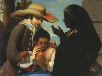 Painting of interacial couple and mulatto child