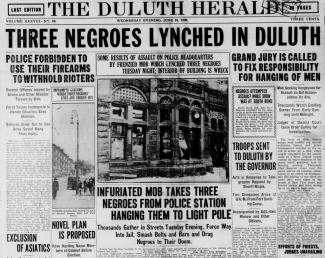 The Duluth Herald newspaper with lynching headlines