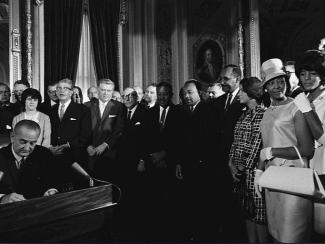 Lyndon Johnson signs Voting Rights Act of 1965