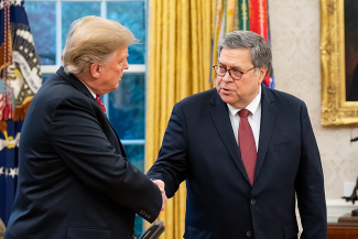 President Trump shaking William Barr's hand