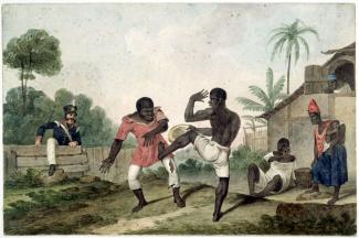 Painting of two men fighting